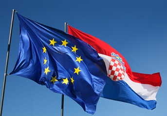 EU Croatia Flags